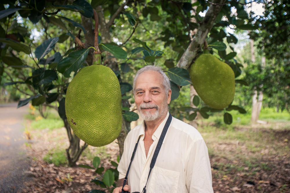 Old man standing next to a jackfruit tree