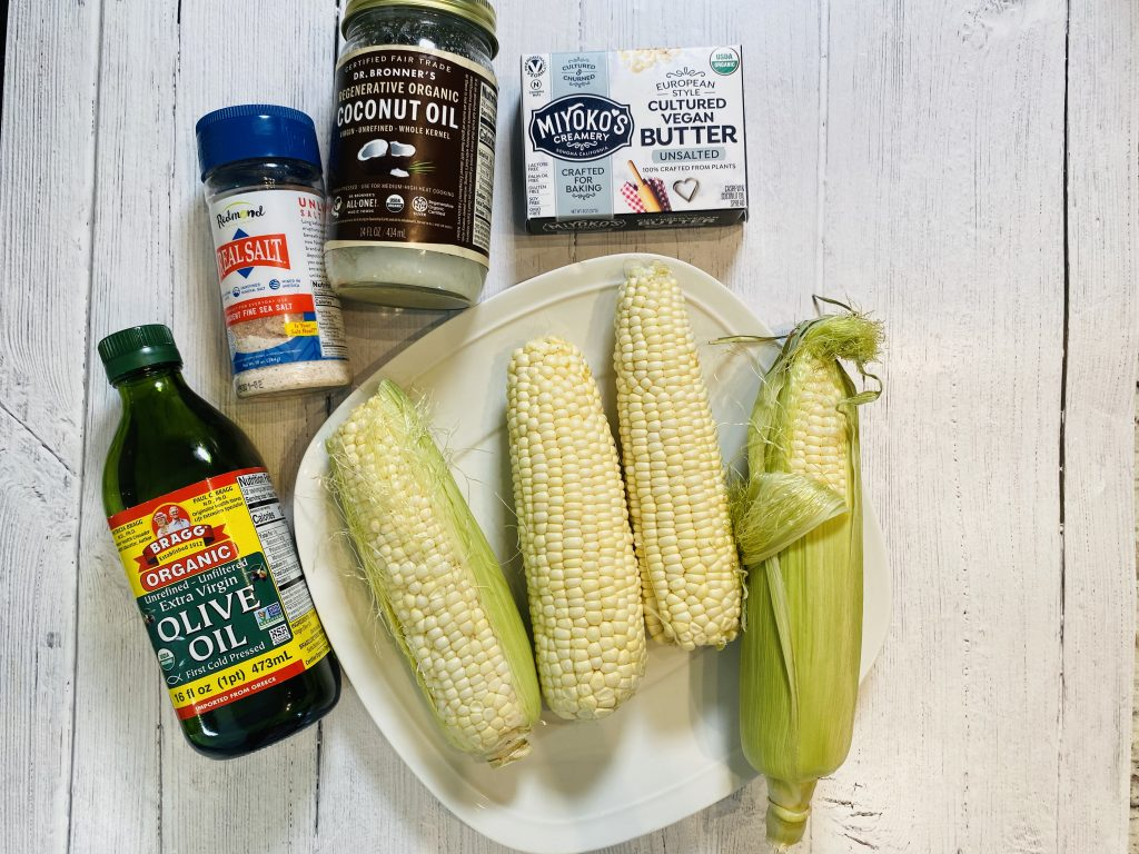 Ingredients for making corn on the cob