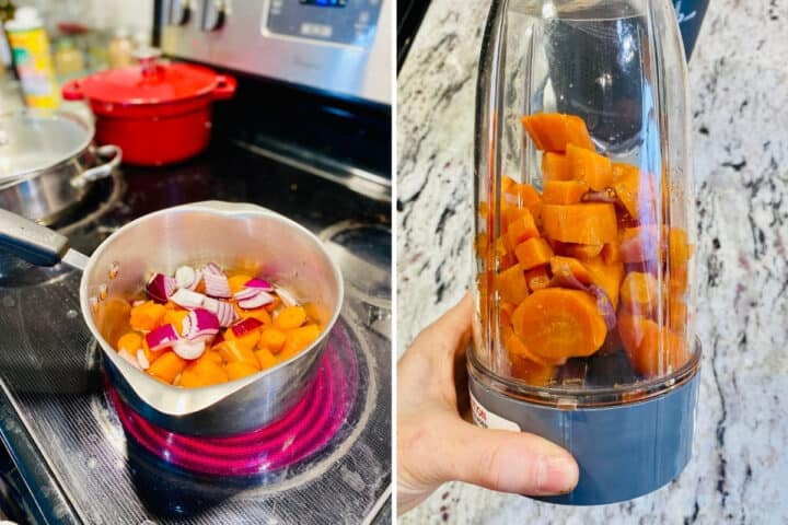 cooking carrots and onions