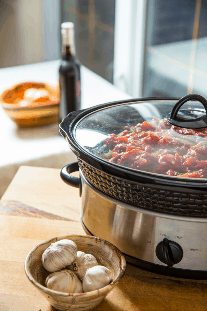 stew cooking in slow cooker