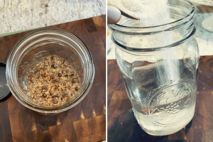 glass jars on a wooden surface