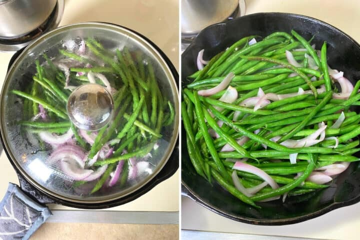 green beans and onions in a skillet
