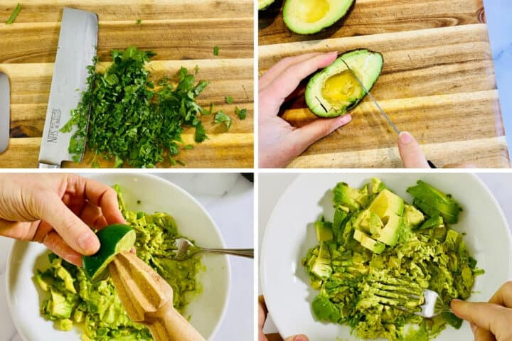 chopping cilantro and juicing a lime