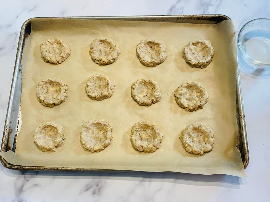 Vegan Jam Thumbprint Cookies ready to fill