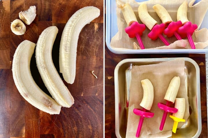 bananas on a wooden cutting board