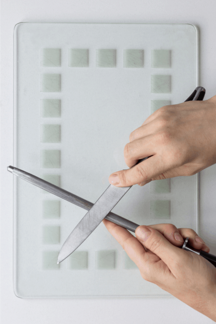 knife and a sharpening steel