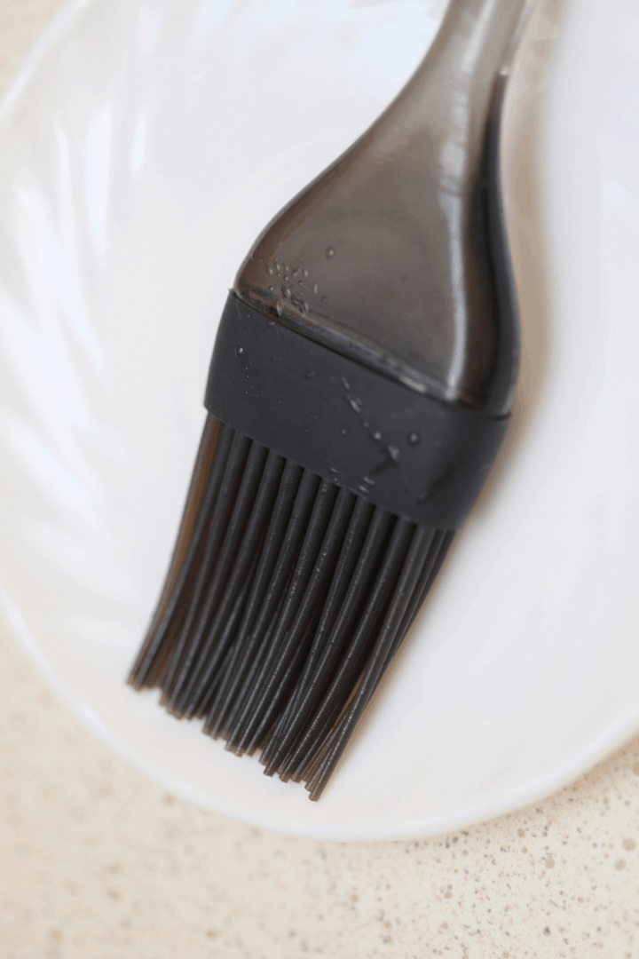 silicone pastry brush on white plate