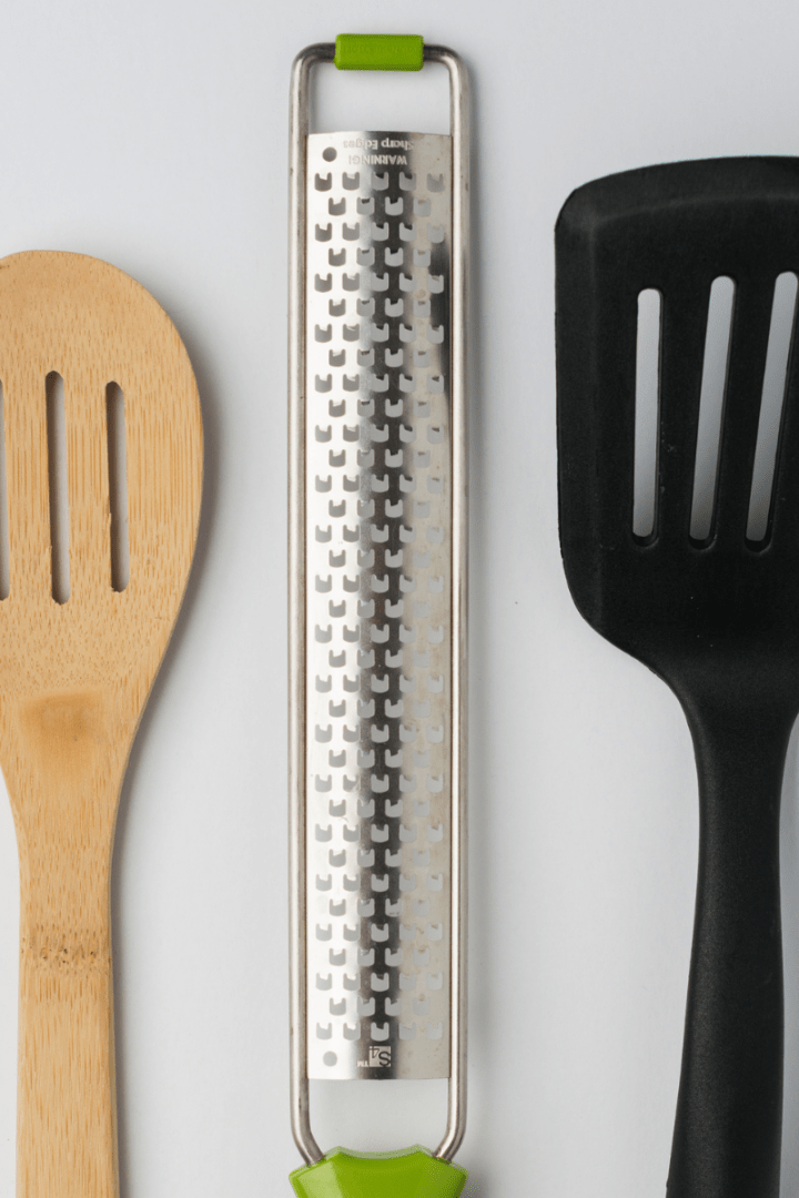 wooden spoon, microplane zester and slotted spatula