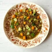 lentil soup in flowered bowl