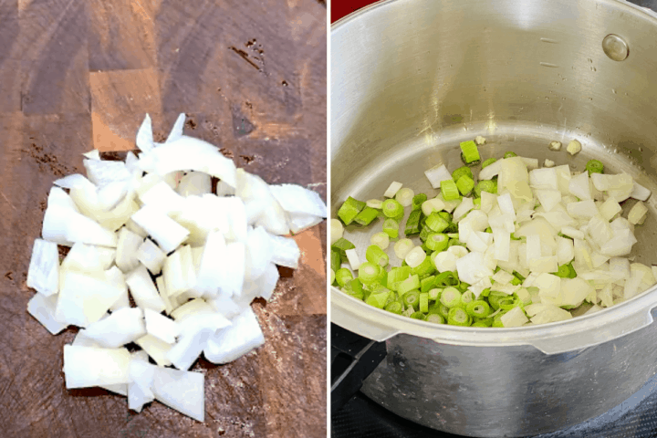 Onions on a chopping board and in a pot