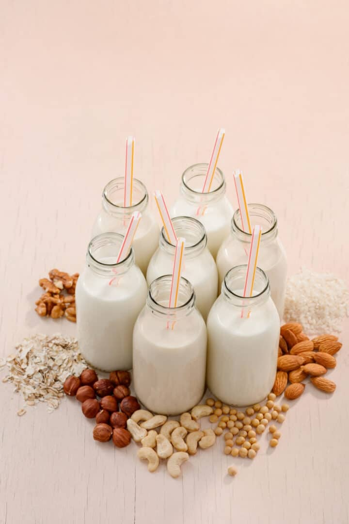 nut and seed milk in glass jars