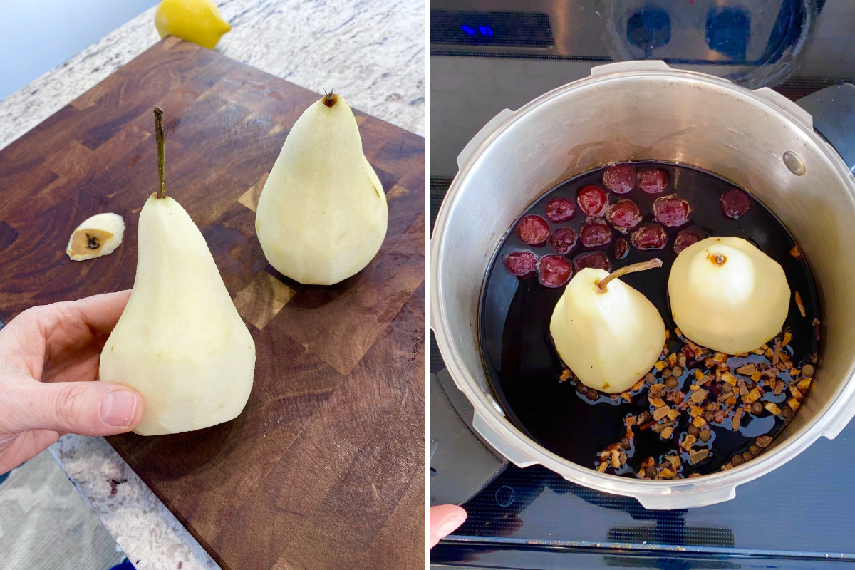 pears on a wooden chopping board and in a pressure cooker