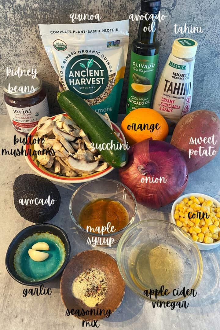 ingredients for a quinoa bowl recipe