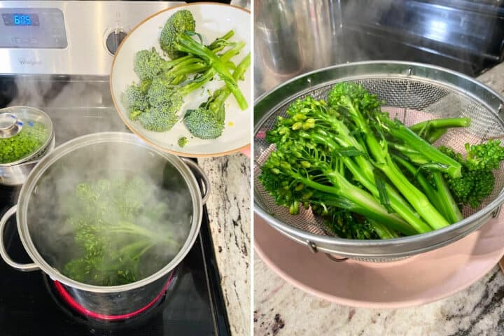 Baby broccoli cooking in a pan