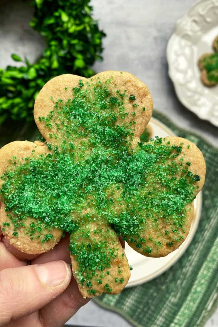 sand tart cookies with green sprinkles