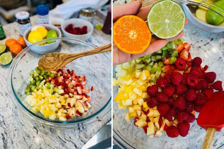 Diced apples and strawberries in bowl