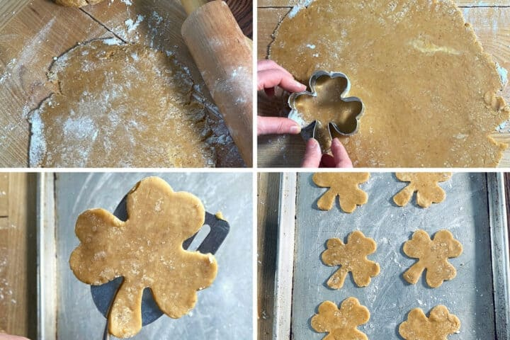 cutting cookie dough with a cutter