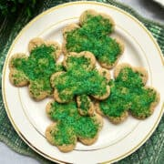shamrock sand tart cookies on a plate